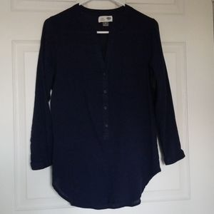 Long Sleeve Navy Blue Tunic Blouse